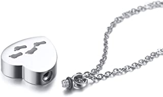 MEALGUET Stainless Steel Heart Shaped Footprints Engraved Cremation Memorial Urn Ashes Holder Pendant Necklace with Chain