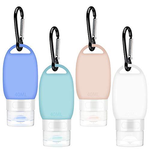 4 Piezas Botellas de Viaje Portátiles, 40ml Silicona Juego de Botellas de Viaje Recargables con Mosquetón Botellas para Desinfectante de Manos, Jabón Líquido, Champús Lociones, Acondicionador