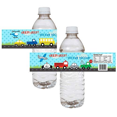 Transportation Party Water Bottle Labels - Boy Birthday Baby Shower Drink Sticker Label - Set of 12