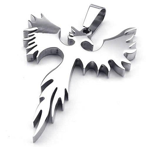 TOOGOO(R) Halskette Schmuck Edelstahl Phoenix Feuervogel Anhaenger mit 60cm Kette, Halskette Fuer Herren Damen, Silber