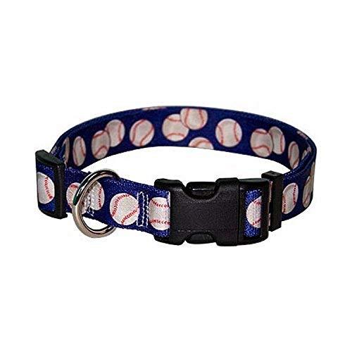 Yellow Dog Design Baseballs Dog Collar Fits Neck 14 to 20', Medium 1' Wide