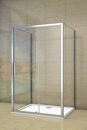 Aica Sanitär Duschkabine U Form Duschabtrennung 120x80cm U-Kabine Duschtür Schiebetür Höhe 190cm