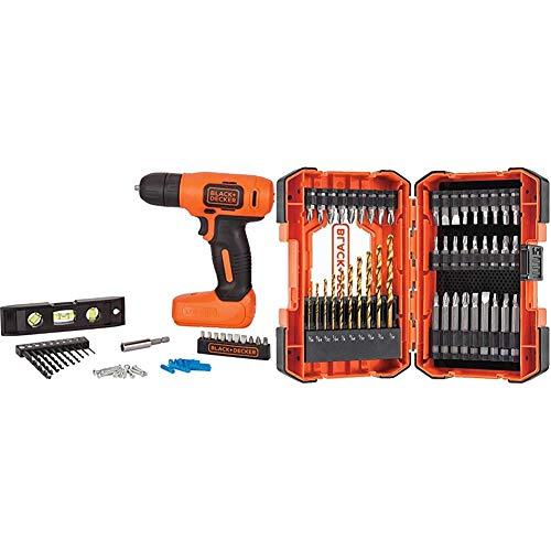 BLACK+DECKER 8V MAX Home Tool Kit, 43 Pieces with Screwdriver Bit Set/Drill Bit Set, 46-Piece (BDCD8HDPK & BDA46SDDD)