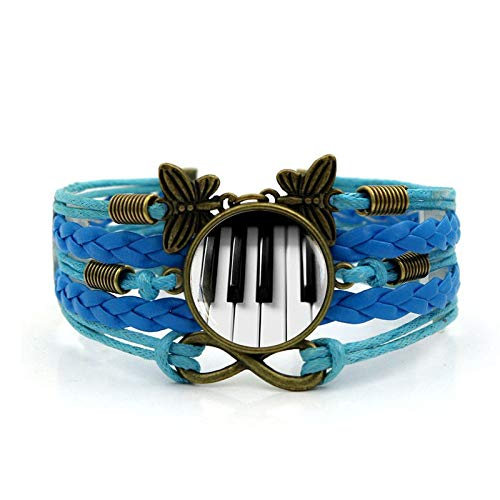 YSLDK Vrouwen Armbanden Bangles, Klassieke Piano Tijd Gem Armband Blauw Vintage Multi-Layer Handgeweven Lederen Vlinder Onbeperkt Liefde Combinatie Ornamenten Verjaardagscadeau