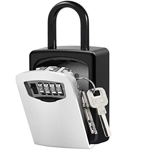 Schlüsseltresor, Xboze Schlüsselsafe für Aussen mit 4-Stelliges Zahlencode Kombination Schlüsselbox Wandmontage Innen für hr Zuhause, Fabrik, Auto, Büros und Garagen (Silber)