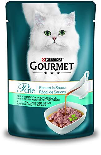 PURINA GOURMET Perle Genuss in Sauce Katzenfutter nass, mit Thunfisch, 24er Pack (24 x 85g)