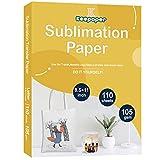 Keepaper - Papel de sublimación (A4, 20,3 x 27,4 cm, 110 hojas para cualquier impresora de inyección de tinta Epson HP Canon Sawgrass con tinta de sublimación para taza, camiseta, tela ligera, 105 g/m²