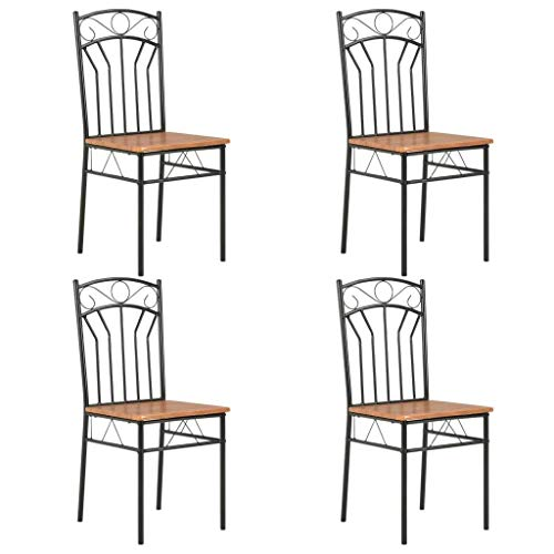 vidaXL 4X Sedie per Sala da Pranzo Robuste Stile Vintage Industriale Eleganti Lisce Arredi Seggiole Sala Cucina Telaio in Acciaio Marroni in MDF