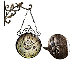 Vintage Double Sided Wall Clock - Silent European Iron Retro Two Faces Innovative Clocks with Bird Finial, Quiet Simple Quartz Classic Wrought 360 Rotate Antique Round Clock Living Room Decoration