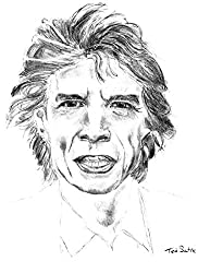 Sir Mick Jagger of the Rolling Stones Print on Canvas by Teo Satre. 20 by 27 Inches - Gift for Musicians - Rock and Roll Decor - Rock Stars Legends