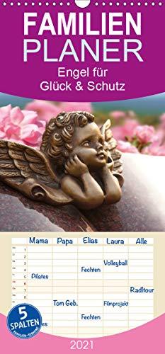 Engel für Glück & Schutz - Familienplaner hoch (Wandkalender 2021, 21 cm x 45 cm, hoch)