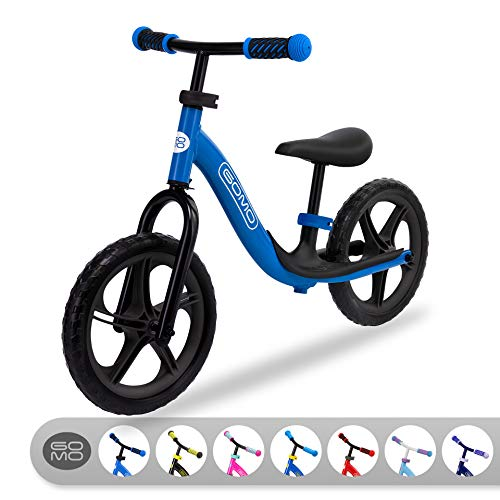 GOMO Balance Bike - Toddler Training Bike for 18 Months, 2, 3, 4 and 5 Year Old Kids - Ultra Cool Colors Push Bikes for Toddlers/No Pedal Scooter Bicycle with Footrest (Blue/Black)