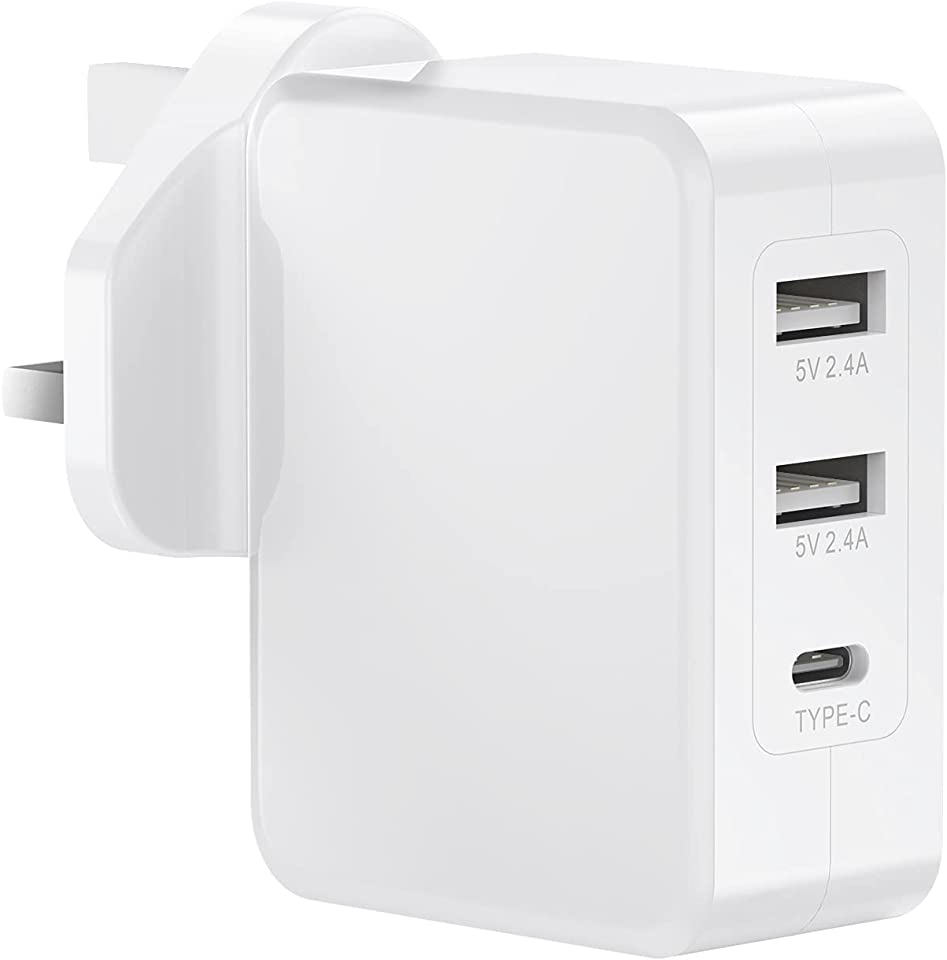 USB C Plug Charger, 24W 3-Port Mains Plug Adapter Multiple Charging Plugs Power with Smart Device-Adaptive Fast Charging Technology for iPhone 11 Pro X Xr XS Max,Galaxy,iPad Pro/Air 4 and More