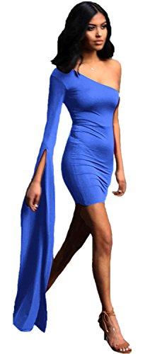 SZIVYSHI Sexy Langarm Asymmetrisch One Shouler Schulterfrei Schulterfreies Bardot Mini Minikleid Bodycon Etui Etuikleid Figurbetontes Dress Kleid Blau L