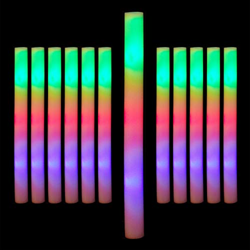 Relaxdays Leuchtstab LED 12er Set, Blinkstäbe, Leuchten in 3 Modi, Schaumstoff, Batterien inklusive, Partystab, weiß