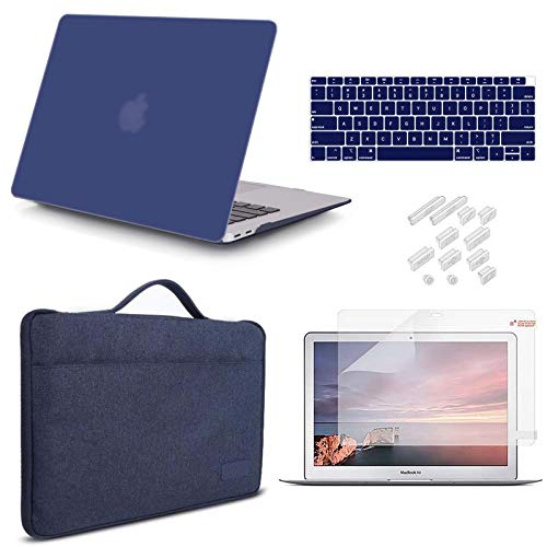 iCasso Compatible MacBook Air 13 inch Case 2020 2019 2018 Release A2337 M1 A2179 A1932 Bundle, Plastic Hard Case Shell, Sleeve Bag, Screen Protector, Keyboard Cover and Dust Plug - Navy Blue