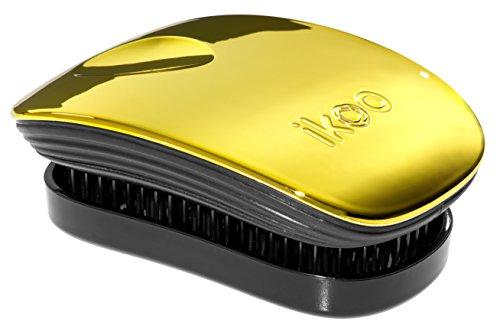 ikoo Brush Pocket Haarbürste gold metallic & schwarze Borsten I kompakte Entwirrbürste mit Deckel, ideal für unterwegs & Reisen I Detangler Bürste für müheloses Kämmen von nassem & trockenem Haar