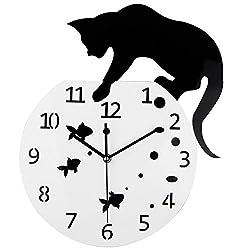 Timelike Fishbowl Cat Clock / Creative Wall Clocks / Home DIY Decoration Watch / Cat on Clock Living Room Mirror 3D Wall Design