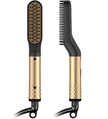 Alisador de Barba Flequillo Multifuncional Peine de Peluquería Plancha de Pelo Eléctrico Profesional para Hombre Mujer (Oro)
