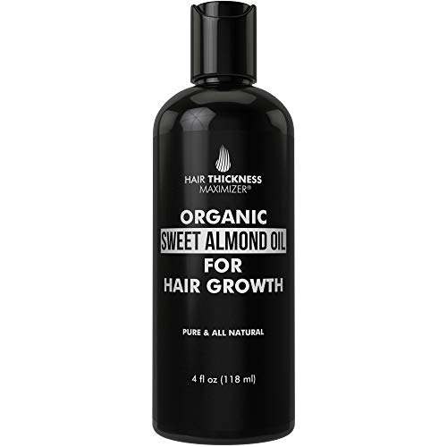 Organic Sweet Almond Oil For Hair Growth by Hair Thickness Maximizer. Pure, Organic, Cold Pressed Almond Oil Stop Hair Loss. Hair Thickening Treatment Serum to Replenish Hair Follicles for Men, Women