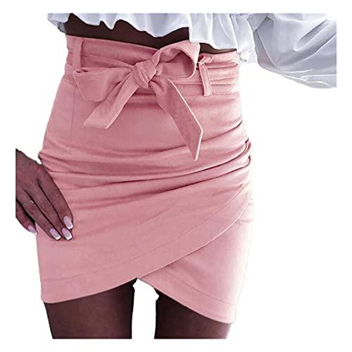 N\P Ladies high Waist Pencil Skirt Sexy Suede Split Casual Mini Pink