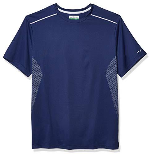 Grand Slam Herren Short Sleeve Printed Crew Neck T Tennis-Shirt, Dunkelblau, Groß