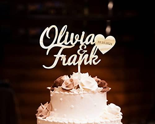 Pet-Jos Cake Topper Personalisierte Holz Hochzeitstorte Hochzeit personalisiert mit Namen Topper Tortenfigur Tortenstecker Jubiläum Dekoration Wedding Cake Topper Custom