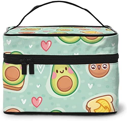 Bolsa de maquillaje grande con diseño de sonrisa de pan de aguacate para mujer, portátil, organizador de viaje con cremallera de malla cepillo de bolsillo con asa para niña