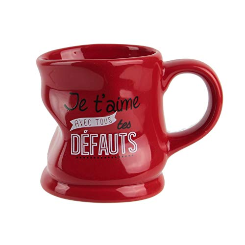 Saveur & Dégustation Kaffeebecher, verformt, Aufschrift Je T'aime Avec Tous TS Défts, Rot