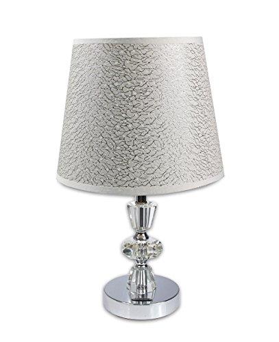 Vetrineinrete Lume moderno da comodino abat jour lampada da tavolo in acciaio cromato e paralume decorato con stelle trama argento P78