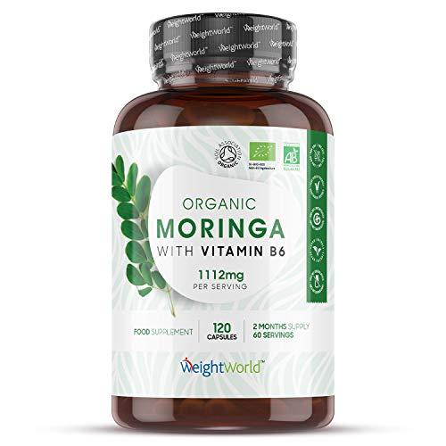 Moringa Bio avec de la Vitamine B6 1112 mg VEGAN WeightWorld   120 gélules de Poudre de Moringa Bio Certifiées AB – Complément Alimentaire Antioxydants sans Gluten ni Lactose - Fabriqué en EU