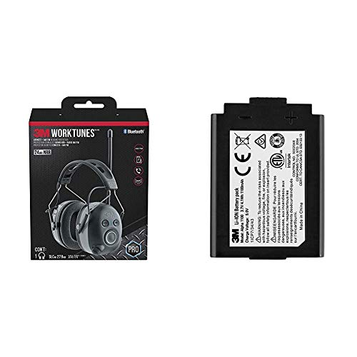 3M WorkTunes Connect + AM/FM Hearing Protector & ALPHA1100 Rechargeable Li-Ion Battery Pack for 3M WorkTunes Wireless, Peltor Sport Tactical