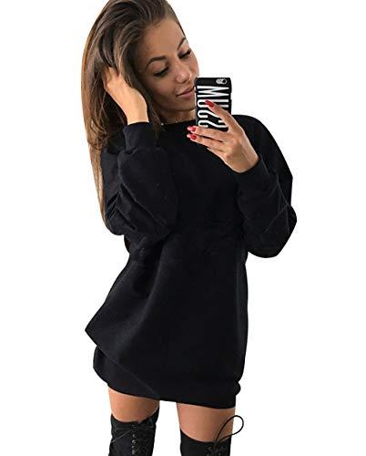 Sweatshirt Damen Lang Lange Pullover Kleid Damen Longpullover Sweat Pullis Langarm Oversize Long Sweatshirts Kleid Longpullis Sweatkleid Sweatshirtkleid Damenpulli Frauen Sweatpullover Schwarz XL