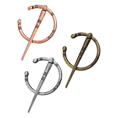 HSTC 3 Pack Vintage Viking Broche Pins Middeleeuwse Mantel Sjaal Pin Sluiting Keltische Sieraden Kostuum Accessoire voor Vrouwen Meisjes