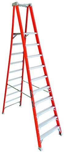 Louisville Ladder 10-Foot Fiberglass Pro Platform Ladder with Extended Rail, 300-Pound Capacity, Type IA, FXP1710
