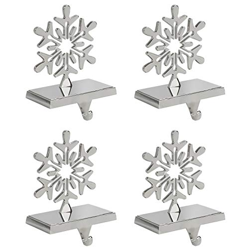 Snowflake Stocking Holder, Chrome, 4-Pack