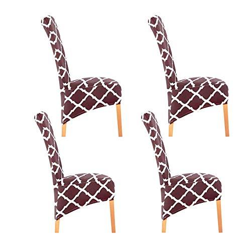 BANGSUN Fundas elásticas para sillas de comedor, funda protectora elástica, color café
