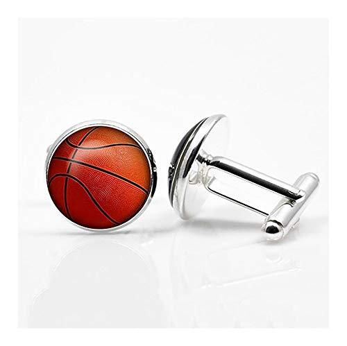YUNGYE Basketball-Manschettenknöpfe Silber Farbe Überzog Basketball-Manschettenknöpfe Männer Und Frauen-Sport Fans Zubehör Accessoires Kragenknöpfe