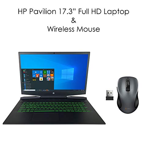HP Pavilion 17.3' Full HD Gaming Laptop & TEKi Wireless Mouse - 10th Gen Intel Core i7-10750H 6-Core up to 5.00 GHz CPU, 64GB DDR4 RAM, 2TB SATA HDD, NVIDIA GeForce GTX 1660 Ti Max-Q, Windows 10 Pro