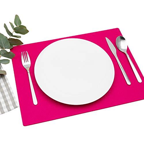 FILU Platzsets aus Filz 4er-Pack Pink eckig (Farbe und Form wählbar) 30 x 41 cm – Tischset für drinnen und draußen Deko für Esstisch...
