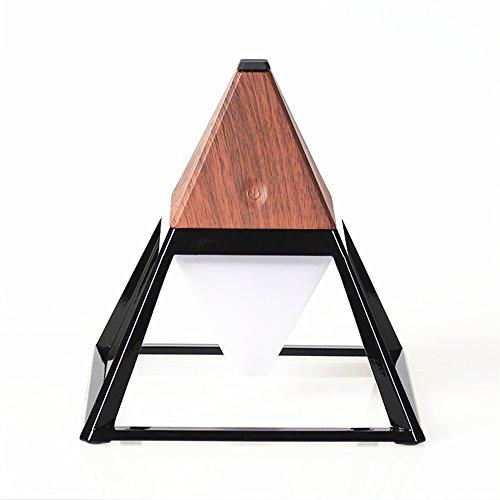 Pyramide Lampe de Table Rechargeable à LED Lampe de Bureau Etanche à l'eau Réglable à l'eau Lampe de Table en Résine en Alliage de Zinc Lampe de Chevet Décorative(Noir en Bois Profond)