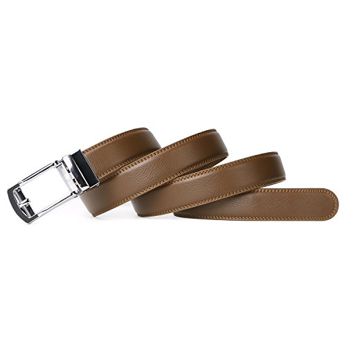 ベルト メンズ 革 レザー ビジネス カジュアル 通勤 紳士 フォーマル ベルト オートロック式 男性用 スーツ用 サイズ調整可能 誕生日 プレゼント ブラウン