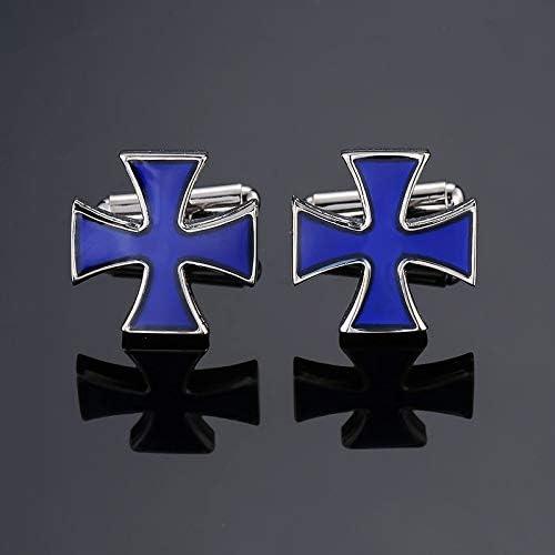 SuoSuo LZWJD Men's French Shirts Cufflinks Environmental Protection Enamel Baking polishing Blue Crystal Pattern Cufflinks (Color : 8)