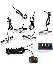 Auto koplampen - 16W 4-in-1 16 LED Stroboscooplichten Bumper Grille Waarschuwingslampje met Controller Modus Schakelaar Energiebesparing en lange levensduur (Color : Yellow)