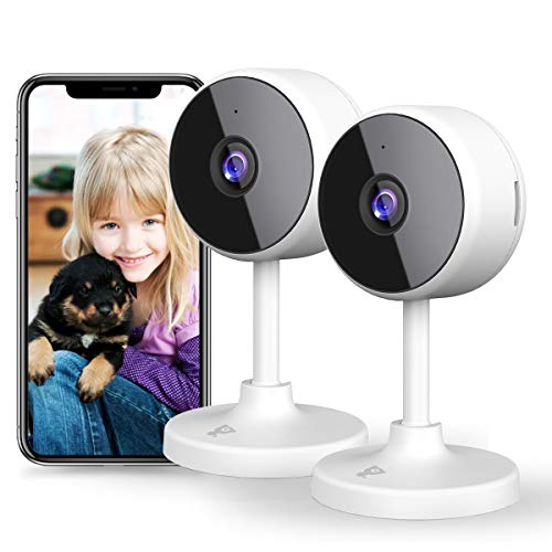 [New 2021] WiFi Camera Littlelf Security Camera, 1080P Indoor Camera Baby Monitor with 2-Way Audio, Human Detection, Night Vision, Home Surveillance Camera for Pet/Baby/Elder, Alexa Support, 2PCS Cameras Dome