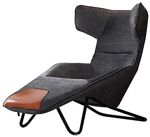 CJHOME Sessel Sessel und Fußhocker Leinen Stoff Liegestuhl Rückenlehne Rückenlehne Liegen Stühle für Wohnzimmer Schlafzimmer Office Lounge Chair (dunkelgrau)