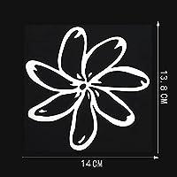 ZDXZC 14cmx13.8cm Gardeniaフラワービニールカーステッカーデカールブラック/シルバー (Color Name : Silver)
