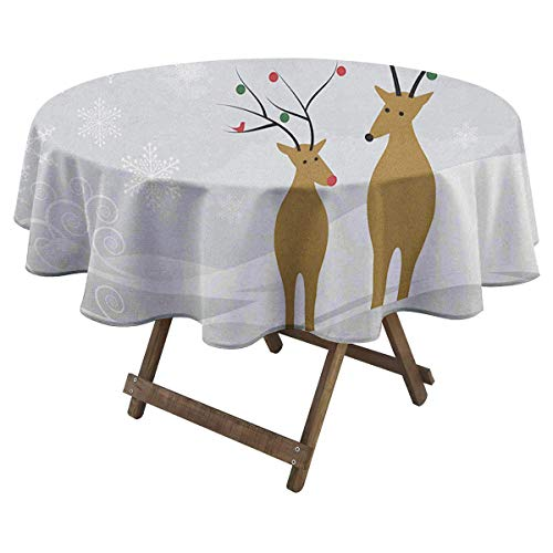 Zara Henry Christmas Waterproof Tablecloth Cute Reindeers at Noel Time Yule with Snowflakes in Winter Santa Print Suitable for Wedding Round Tablecloth D 54' Brown Pale Grey White