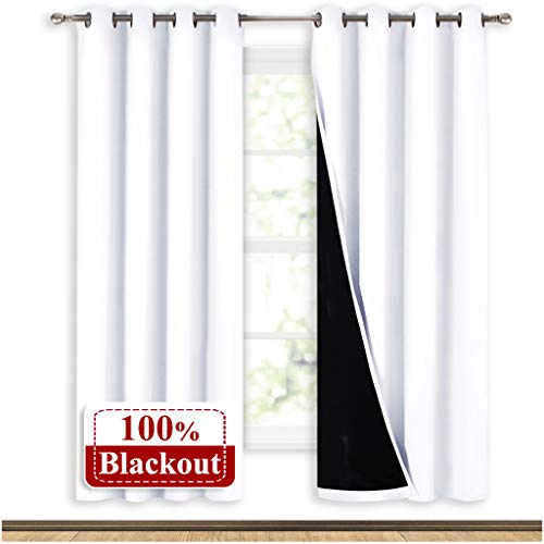 NICETOWN 100% Blackout Window Curtain Panels, Full Light Blocking Drapes with Black Liner for Nursery, 72-inch Drop Thermal Insulated Draperies (White, 2 Pieces, 52-inch Wide Per Panel)