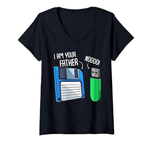 Donna Codificatore Floppy Disk Coder Ingegneria Informatica Geek Maglietta con Collo a V